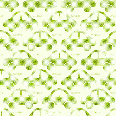 cleaning planet: Light Green Eco Car Seamless Pattern. Vector Illustration of Earth Protection Concept