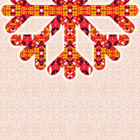Half of Vintage Colorful Snowflake with Copy Space. Invitation Card for Christmas Design