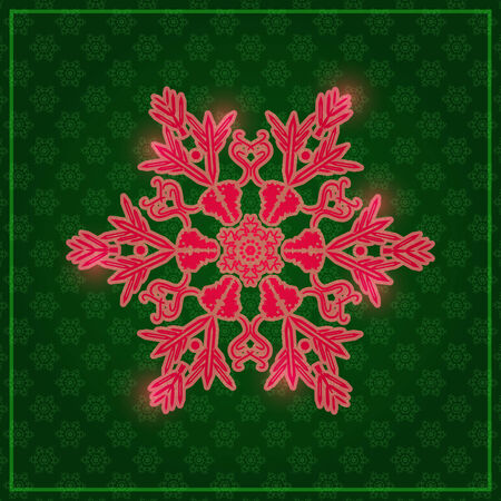 Large Detailed Snowflake on Dark Green Background Vector