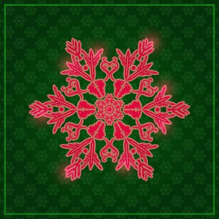 Large Detailed Snowflake on Dark Green Background