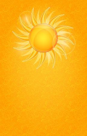Shiny Bright Invitation Cards with Yellow Sun. Summer Illustration