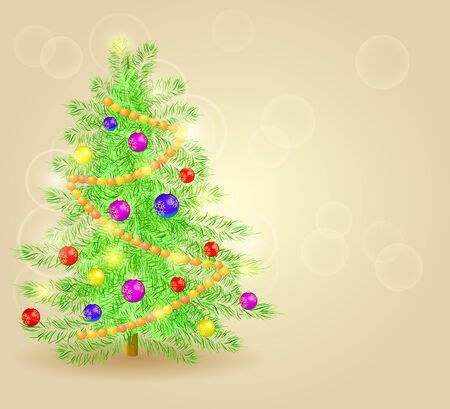 Vector Realistic Detailed Christmas Tree Card with Place for Text. Vector New Year Holiday Card Illustration