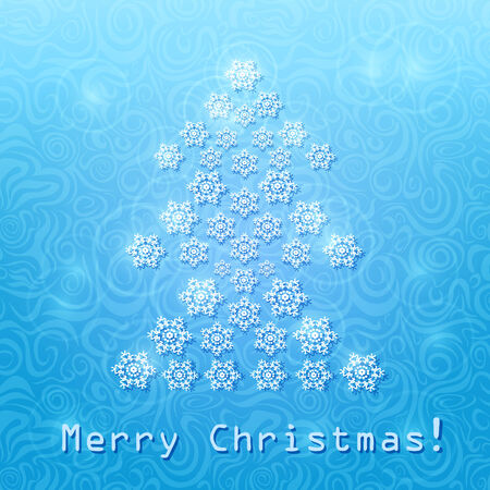 Abstract Christmas Tree Composed From Snowflakes. Vector Winter Card