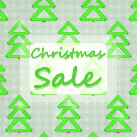 Christmas Sales Sign with Green New Year Trees. Vector Illustration