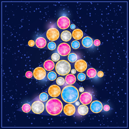 Shiny Colorful Gem Stone Diamond Christmas Tree. New Year Holiday Concept Card