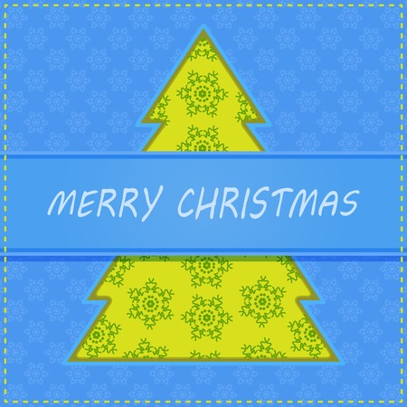 Cut Paper Christma Tree on Holiday Greeting Card Illustration
