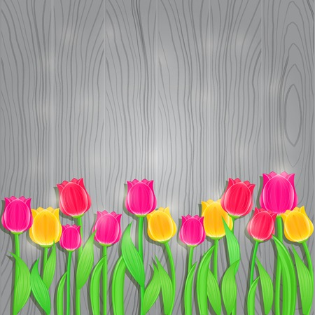 Invitation Card with Tulip Flowers on Gray Wooden Background. Vector Floral Background