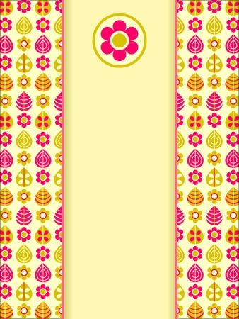 Yellow Pink Retro Card with Leaf Flower Pattern and Vertical Label and Place for Text Illustration