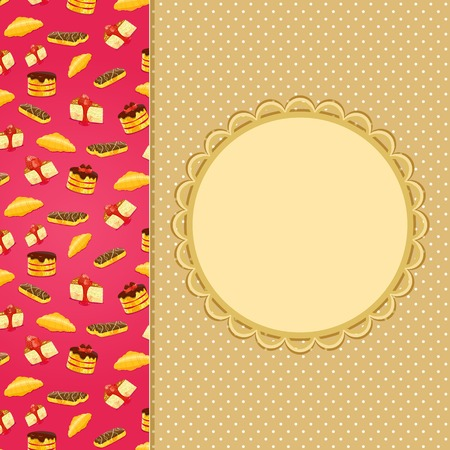 fruitcake: Greeting or Invitation Card with Sweet Cake Vertical Decor Element and Place for Text