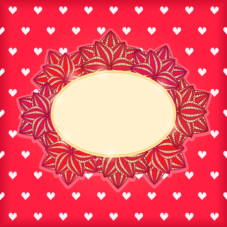 Red Vintage Card with Flowers Hearts and Blank Space