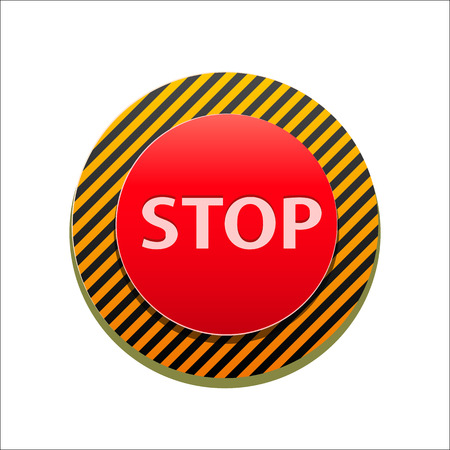Red Round Stop Sign. Vector Illustration