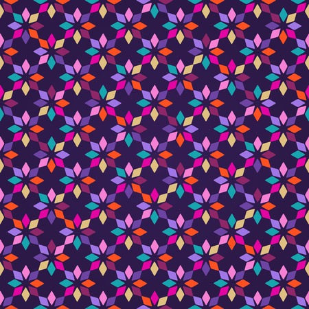 Colorful Plain Vector Seamless Pattern with Snowflake Ornament