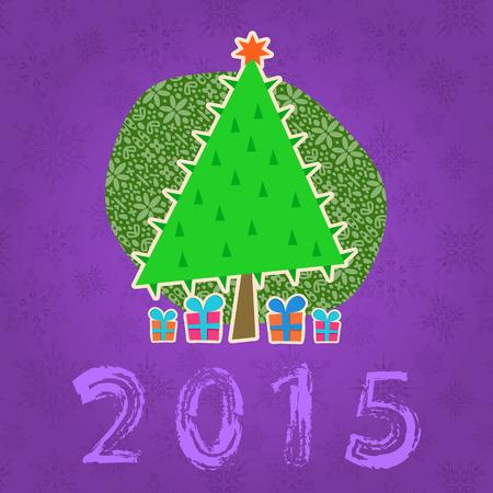 New Year Tree Illustration. Holiday Background Illustration
