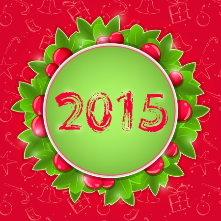 New Year Round Label with Red Berry. Holiday Background