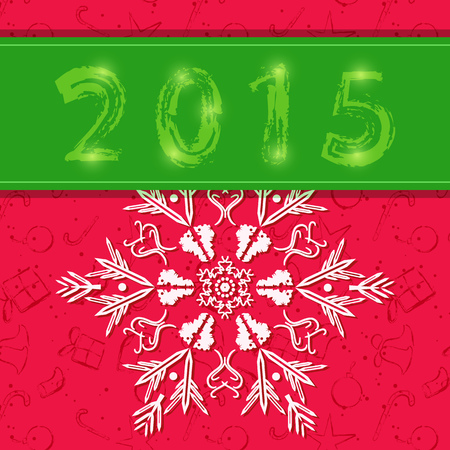 Detailed Snowflake on Red Christmas Greeting Card