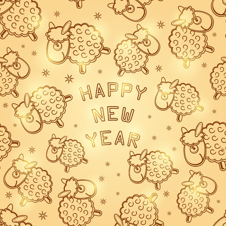 2015 New Year Card with Gold Glowing Sheep. Vector Greeting Illustration