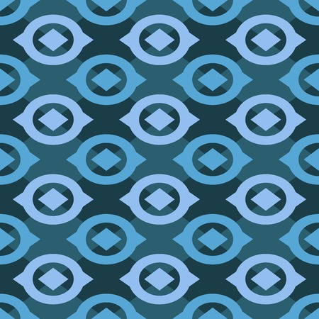 Abstract Geometric Seamless Pattern with Blue Symmetric Shapes Illustration