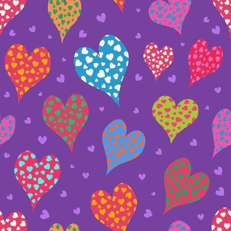 Hand Drawn Cartoon Heart Seamless Pattern for Valentine Day.