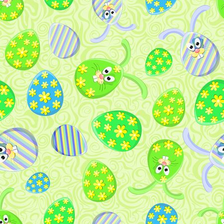 Colorful Seamless Pattern with Easter Egg and Bunny. Spring Illustration