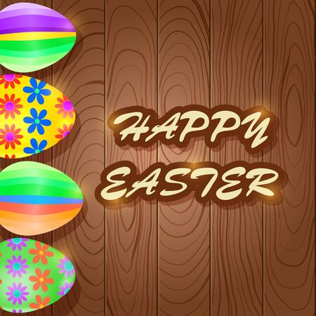 Shiny Easter Wooden Greeting Card with Colorful Stripe Eggs