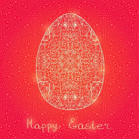 Yellow Egg in Swirl Decoration Pattern. Happy Easter Card. Spring Illustration