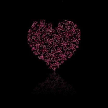 Pink Heart Composed of Butterfly Silhouettes with Reflection. Vector Valentine Concept