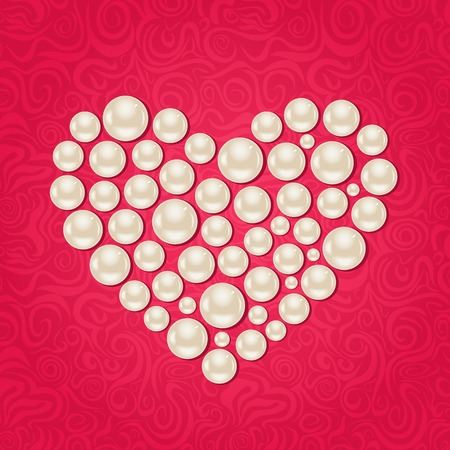 Pearl Heart on Pink Swirl Background. Vector Valentine Day Card