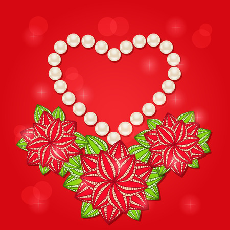 Pearl Heart with Red Flowers. Valentine Day Card