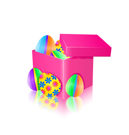 Gift box with colorful easter eggs. Vector illustration.