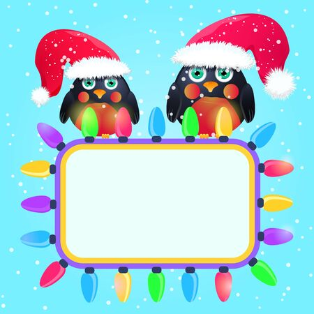 Birds in Cute Red Hat Seats Sitting on Square Label. Season New Year Greeting. Vector Christmas Illustration.