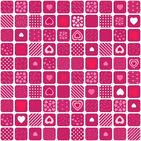 Red Simple Valentine Background Consisting of Squares and Hearts Illustration