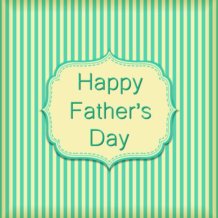 Happy Fathers Day on Stripe Wallpaper Wall. Vector Text on Green Background