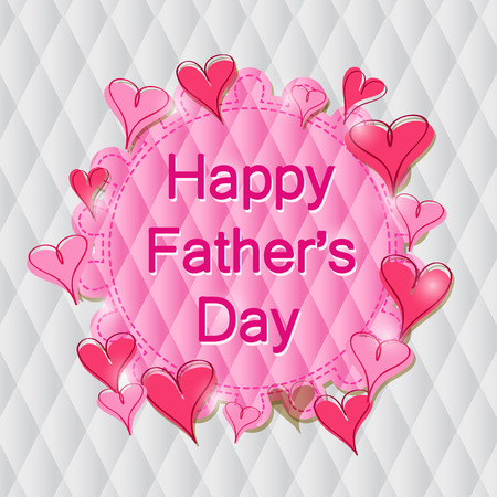 Happy Fathers Day Label in Pink Hearts on Rhombus Pattern. Vector Illustration