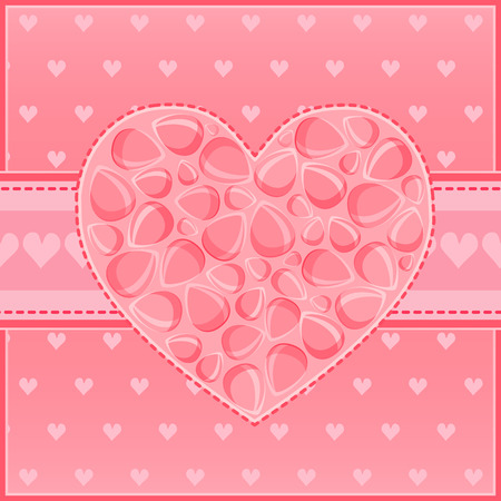 Beautiful Heart of Red Flower Petals Greeting St Valentine Day Card Illustration