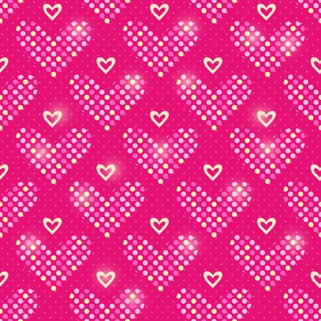 Red Polka Dot Heart Seamless Pattern Background. Vector Illustration