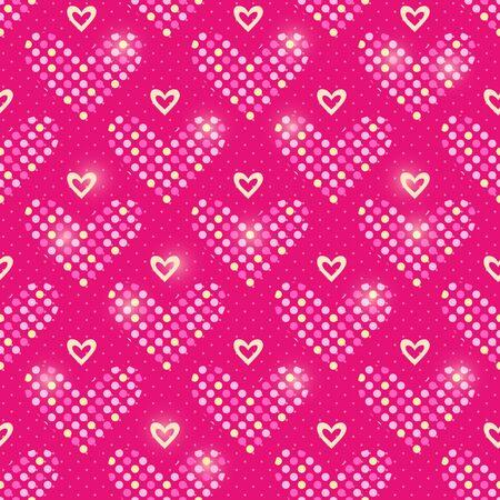 Red Polka Dot Heart Seamless Pattern Background. Vector Illustration