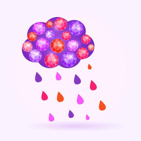 Vector Gem Cloud with Rain Drops