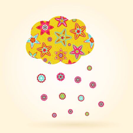Cloud of Flowers with Rain Drops. Vector Illustration