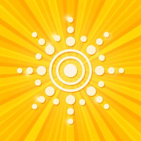 White Tag Paper Sun on Stripe Yellow Background. Illustration
