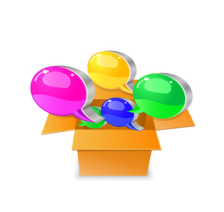 Bubble chat boxes  out from carton box. Vector illustration isolated on white background.