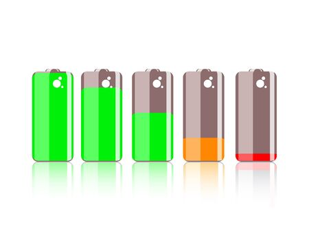 wattage: Colorful battery icon isolated on white background Illustration