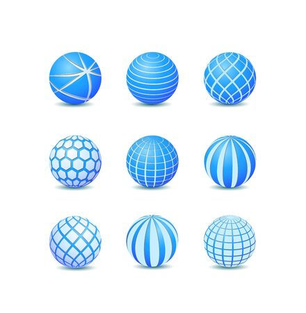 Set of Blue Abstract Round Stripe Ball Icons. Vector Illustration