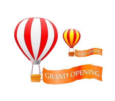 hot air balloon with grand openning flag isolated on white background.Vector illustration.
