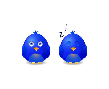 blue awake and sleeping bird icon isolated on white background