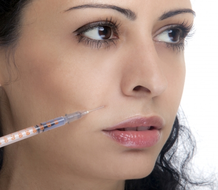 Treatment with botox or hyaluronic collagen HA injection photo