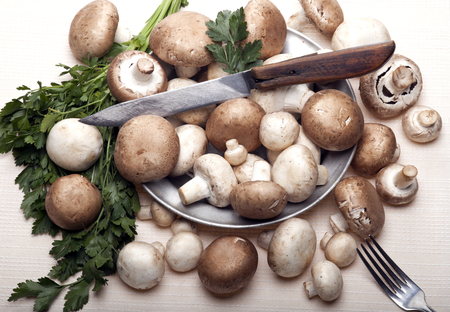 Button or Champignon and Portabello mushrooms in old metal plate with knife, fork and parsley. On a white tablecloth. photo