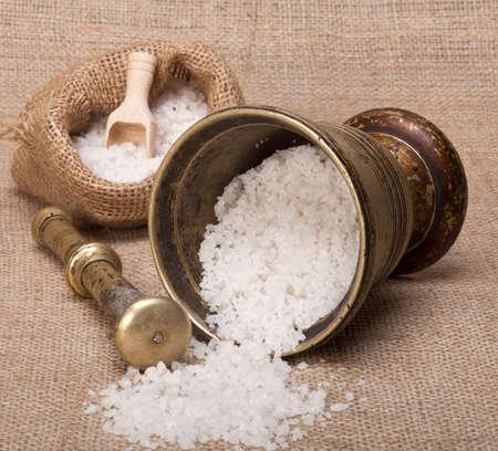 bagging: Sea salt in old pounder on a bagging.
