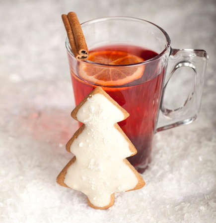 Christmas cookie and tea on a white  photo