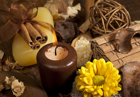 Spa background in the range of brown and yellow. photo
