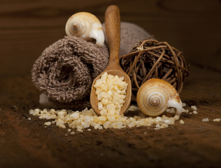oriental massage: Spa background in the range of brown and yellow. Stock Photo